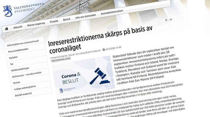 Finska Regeringen Skarper Inreserestriktionerna Haparanda Stad
